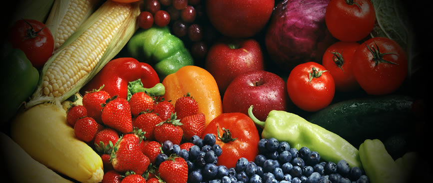 Mixed assortment of fruits and vegetables